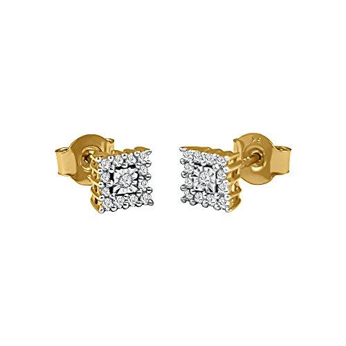 Quadratischer Ohrringe Gold-diamant (Kiara Jewellery Ohrstecker Gelbgold 9 Karat Gold mit je 12 Brillantschliff Diamanten Umgebung eine Central Diamant in eine quadratisch zu Look wie ein quadratischer Diamant. Total 0,20 Karat Diamant)