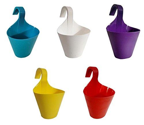 Truphe Railing Pots, Garden Planters - Multi Color Set Of 5