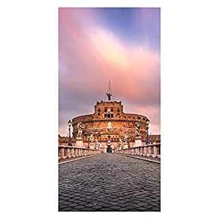 wandmotiv24 Türtapete Sant Angelo Brücke und Schloss, Rom Tapete Tür Türaufkleber Türbild Aufkleber M1035 100 x 200cm (B x H) - Vlies