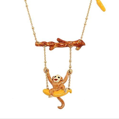 ORKST Kreative Welle vergoldete Halskette Original Tier Emaille Affe Multi-Layered Quasten für Frauen, Kettenlänge 46cm + 6cm erweiterte Kette (Layered Tiere)