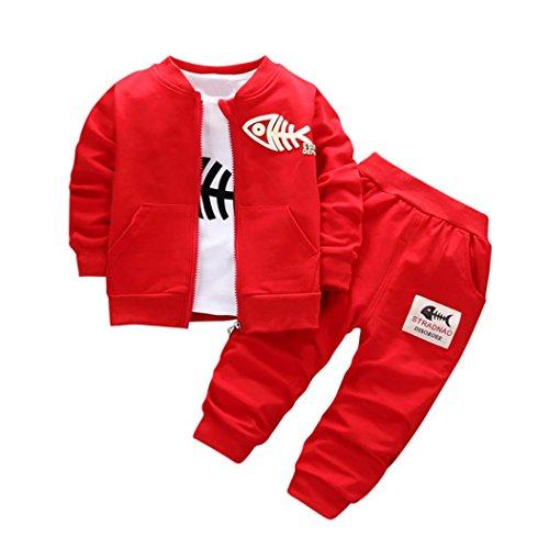 Luckycat 3 STÜCKE Kinder Baby Kleidung Jungen Kleidung Outfits & Set Top Coat + T-shirt + Hosen Fisch (12M--80cm-S, Rot) (Elfenbein Set Hut)