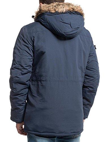 Crosshatch Herren Winter Kurz Mantel Winterparka Killblake 3 Farben S-XL Blau