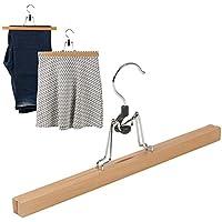 Gonna Vestiti Pantaloni Clip grucce in legno naturale, 33cm, Set di 3