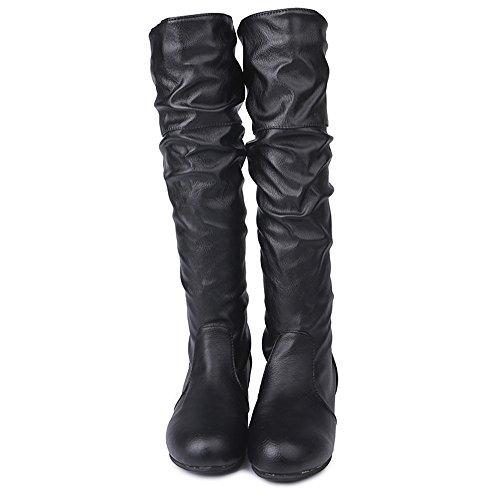 SUNNSEAN Damenstiefel Stiefeletten Damen Winter Flache Einfarbig Martin Spitz Hohe Lange Stiefel Freizeitschuhe Casual Boots Mode Kurze Stiefel