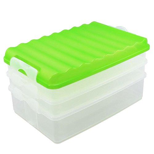 com-four® 4-teiliges Aufschnittdosen-Set, eckig, mit Deckel, Behälter transparent, Deckel grün, ca. 25 x 15,5 x 14 cm (1 Set/grün)