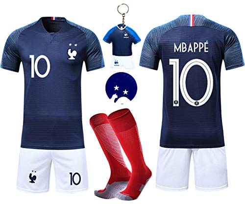 VOOA Maillots de Football Enfants de France Soccer Jersey 2018 Coupe du Monde France 2 Étoiles Football T-Shirt et Short Chaussettes (Bleu 10 Mbappe, Tag26)