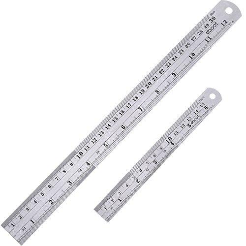 Edelstahl Lineal Messwerkzeug Stahlmaßstab Stahllineal 12 Zoll und 6 Zoll Metall Lineal Kit mit Umrechnungstabelle -