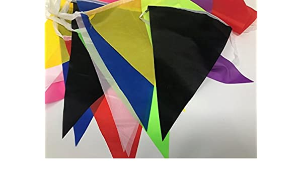 MULTICOLOUR COLOUR 10m LONG 20 FLAGS BANNER BUNTING MULTI COLOURED PARTY DECOR
