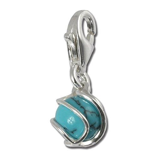 SilberDream 925 Ciondolo in Argento Sterling turchese pietra proiettile pendente per collana o braccialetto orecchino FC250T
