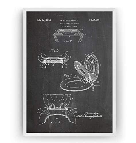 Toilettes 1936 Affiche De Brevet - Toilet Seat Impressions Prints Art Patent Lavabos Toilette Salle De Bains Posters Poster Cadeaux Décor Blueprint Plan - Cadre Non Inclus