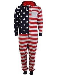 Hommes Onesie Tokyo Laundry Drapeau Américain USA ImpriméÀ Capuche tout en un