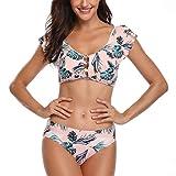 Sexy Bikini Damen Push Up für Kleine Brüste High Waist Bademode Neckholder Bademode mit Volant Elegant Blume Badeanzug Bikini-Set