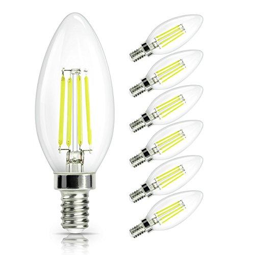 SHINE HAI Bombilla Filamento LED E14 en Forma de Vela, Incandescente Equivalente a 40w, Blanco frío 6000k 4W, Casquillo Fino E14 SES, AC 200-240V, 470LM Pack de 6 Unidades