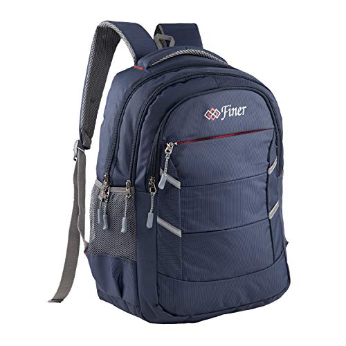 Finer Casual Backpack|Soft College School Bags for Girls Boys Mens Women|Travel Shoulder Bagpacks Waterproof|Travel Bags 34L Rain Cover|Navy Blue
