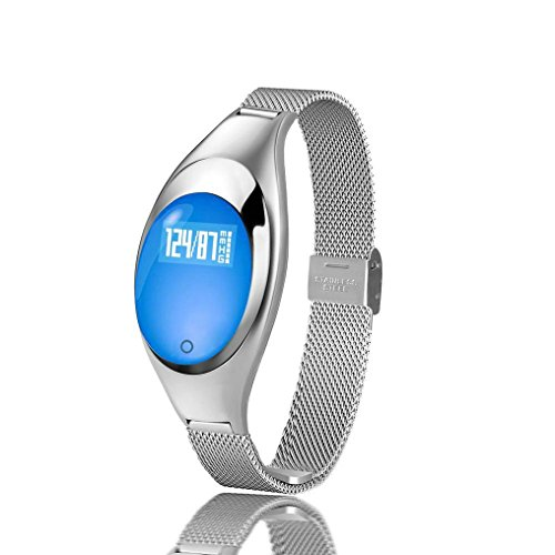 Zimingu® Smart Armbanduhr Mädchen Stilvoll Fitness Armband Fitness Tracker IP67 Wasserdicht Smart Watch für Android und IOS ( Schrittzähler Gesundheits-Schlaf-Monitor Herzfrequenz-Monitor mit Call / SMS Erinnerung ) (Silber)