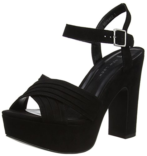 New Look Wide Foot Triumphant, Bride de cheville femme Noir (noir)