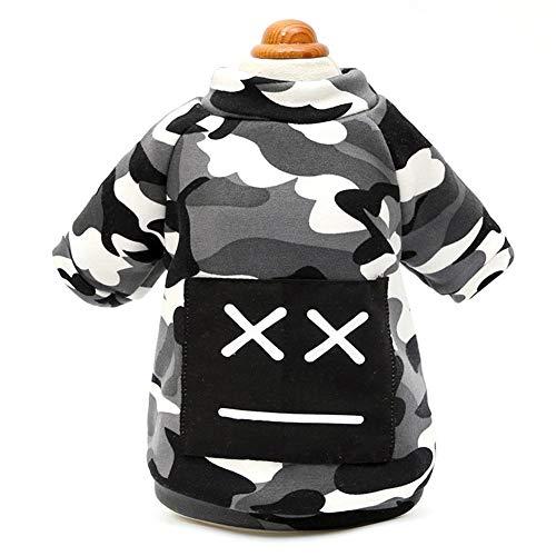 Minsa Hundebekleidung Herbst Winter Warm Grau Camouflage Micro-Samt Pullover Kleidung für Wandern Joggen XL