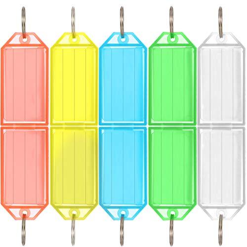 50 Pièces Étiquettes de Clés en Plastique Dur avec Étiquette de Bague Fendue Bagages ID Porte-Clés 5 Couleurs