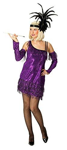 Rubie's 20er Charleston Showgirl Pailletten Damenkostüm lila 48