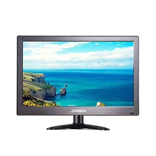 JOHNWILL Tragbarer 12-Zoll-Monitor 1366x768 IPS HD-Monitor mit USB VGA HDMI AV BNC, Kunststoff schwarz -