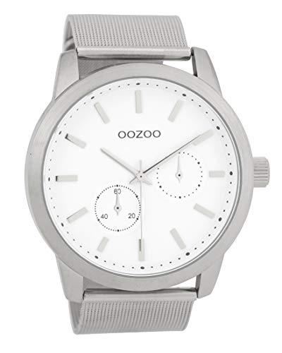 Oozoo Herrenuhr mit Metallband 47 MM Weiß/Silberfarben C9661