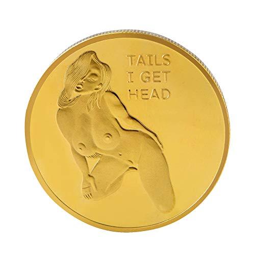 Amosfun têtes queues Challenge Coin Pièces commémoratives Collection Arts  Souvenir (Souvenir) (Doré)