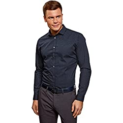oodji Ultra Hombre Camisa Entallada a Lunares, Azul, 39cm/ES 46/S
