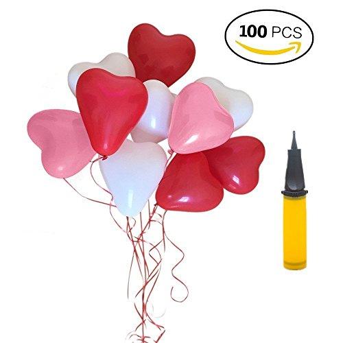 Palloncini a forma di cuore – 100 lattice palloncini e pompa palloncini cuore rosso grande per matrimoni, anniversari, san valentino (cuore) (rosa rosso bianco)