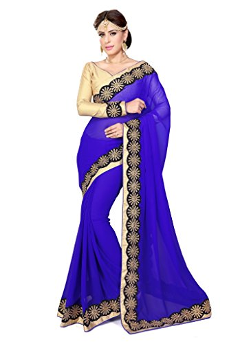 SOURBH Women's Faux Georgette Saree (435_Royal Blue) (Georgette Saree)