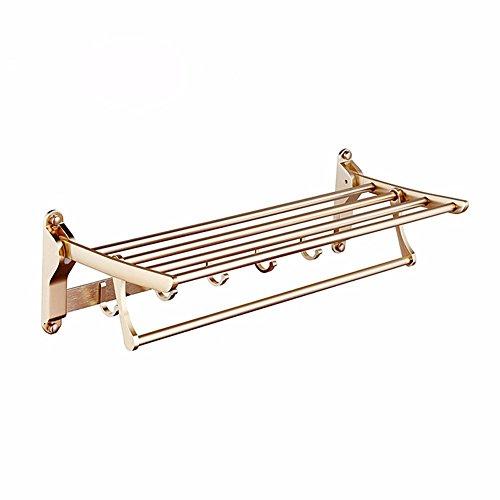 ZHGI Spazio di alluminio pieghevole accessori idraulici attività di lusso oro asciugamano da bagno il ripiano di un rack