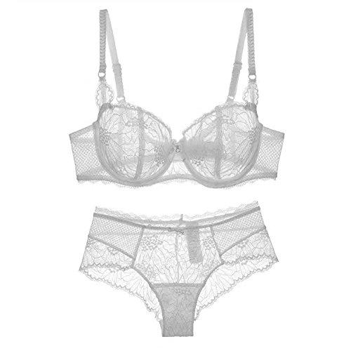 Nature Damen Dünn Transparenten Spitzen BH Set - (Weiß 80D)