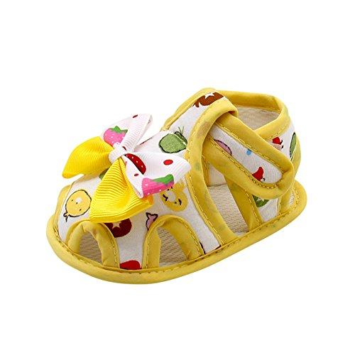 EUCoo_shoes Weibliche Babysandelholze beugen die Babyschuhkinderschuhe des weichen Unterseitenkleinkindes (0-18 Monate)(Gelb, 13)