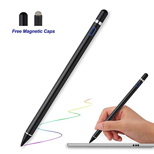 Stylus Pen für Touchstift - MPIO Kapazitiver Wiederaufladbarer Aktiver Bleistift mit 1,5 mm Ultrafeinen Spitzen für Apple iPad Pro, Air, ,Mini, iPhone, Samsung, Lenovo Tablet, für iOS und Android -