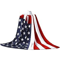 Fakeface Extra Morbida Coperta in Flanella per Letto Divano Coperta Britannico/Bandiera Americana Dimensioni 1,5x 2m (149,9x 200,7cm), 1x Tasca Coulisse Free American Flag