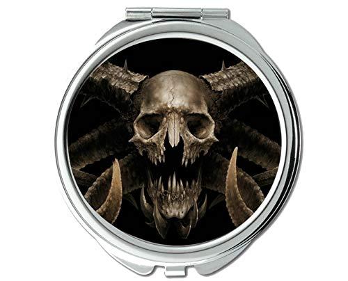 Yanteng Spiegel, Kompaktspiegel, Dunkler Schädel, Taschenspiegel, 1 X 28X Vergrößerung