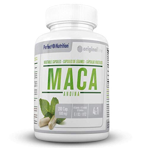 Maca Andina Pura 200 capsulas con vitamina E, vitamina B3 y vitamina B12 producto suplemento vegano Mejora tu estado de ánimo y aumenta tu energía