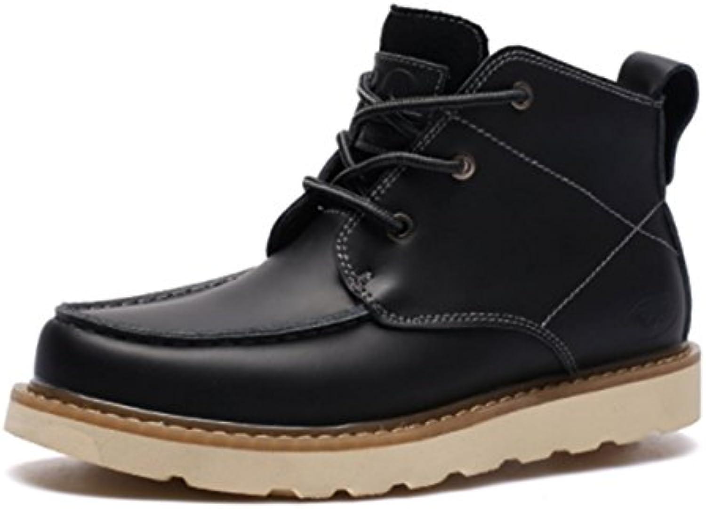 XX LINYI Männer Schuhe Echtes Leder Mode Martin Stiefel Casual Sport Walking Court SchuheXX Männer Stiefel Walking Black 38