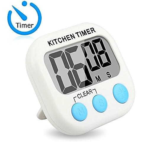 HapursTemporizador de cocina digital con pantalla grande, alarma de sonar fuerte, soporte magnético fuerte, gancho de pie retráctil (blanco)