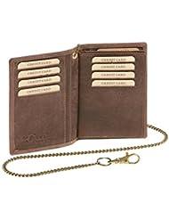 Biker portefeuille porte-cartes pour pièce d'identité et porte-cartes avec la chaîne LEAS MCL, cuir véritable, marron - ''LEAS Chain-Series''