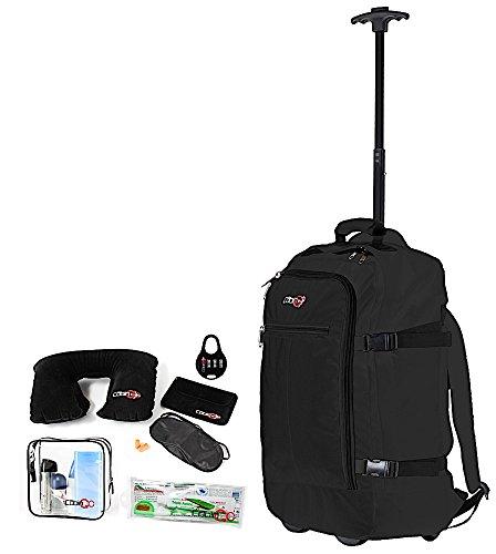 Cabin GO cod. MAX 5520 trolley - Zaino bagaglio a mano/cabina da viaggio leggero. - 55 x 40 x 20 cm, 44 litri - con ruote. Approvato volo IATA/EasyJet/Ryanair (Nero/Nero)