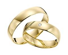 Idea Regalo - Fedi d'oro 333, marca Rubin Juwelier, in oro giallo con pietra e diamanti