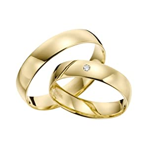 333 GOLD Trauringe – Rubin Juwelier- Gelbgold inklusive Stein und Gravur im Paarpreis