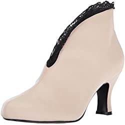 Pleaser Pink Label JENNA-105, Botas Mujer, Beige (Cream Faux Leather-Blk Lace), 43