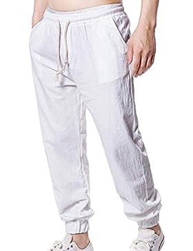 Pantalones cortos de lino de salón de lino ocasionales hombres con cintura elástica con cordones troncos Medias...