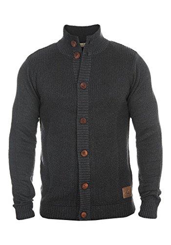 SOLID Trey Herren Strickjacke Cardigan Grobstrick mit Stehkragen aus hochwertiger Baumwollmischung Meliert, Größe:M, Farbe:Dark Grey Melange (8288)