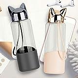 ZZZALL Wasserflasche mit Katzenklaue, 320 ml, süßer Fuchs, aus Glas, BPA-frei, transparente Flasche, für Fahrrad, Reisen und Outdoor-Sport (2 Tassen)