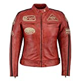 Veste Femme Cuir Moto Vintage Rouge (38)