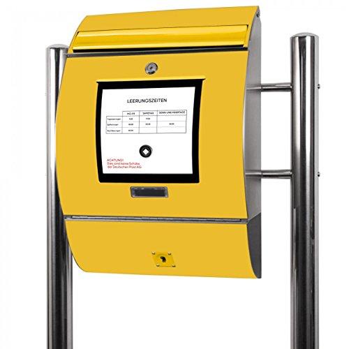 BANJADO Edelstahl Briefkasten groß, Standbriefkasten freistehend 126x53x17cm, Design Briefkasten mit Zeitungsfach Motiv Briefkasten Gelb