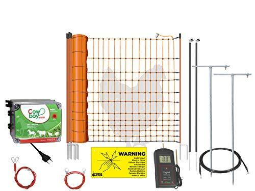 50m Pollame recinzione completo con 230V elettrificatore & rete di recinzione 50m di lunghezza, 112cm di altezza, con batterie Tester, erdungspfaehlen e materiale di collegamento