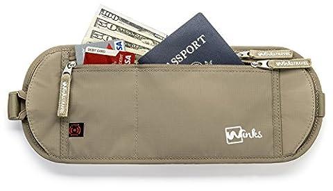Winks Hidden Travel Wallet Money Belt RFID Blocker Passport Holder | Waterproof